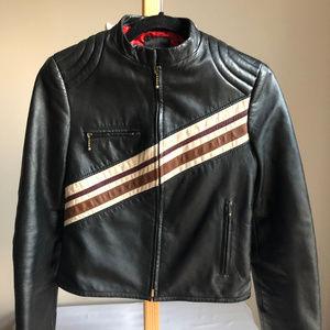 Mango Jackets & Coats - Mango Moto Retro leather Jacket w/Stripe Details